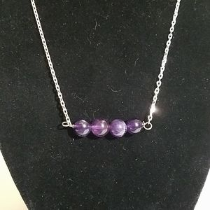 Amethyst beads on a 925 chain necklace 3b8